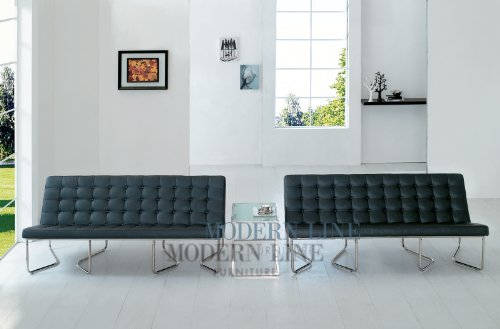 Image of Modern Two Black Leather Sofas and End Table (SunriseB2s-CT55)
