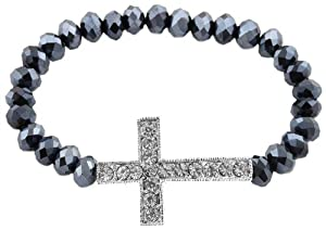 Hematite Shamballah Stretch Bracelet with an Iced Out Cross Charm and 25 Glass Beaded Balls