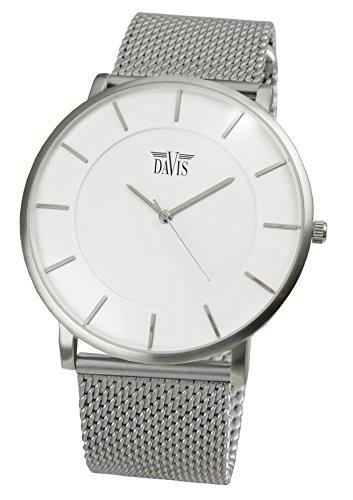 Davis 0911MB - Reloj Diseño Unisex Blanco, Cuarzo, Cuadrante Extra plano, Correa Acero Mesh