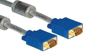 Ligawo ® Professional VGA 5m câble clair - Projecteur SVGA pour ordinateurs portables Netbook PC portable écran TV par câble - très haute qualité - connecteurs plaqués or, un noyau de ferrite, multi-blindé jusqu'à 2048 × 1536 pixels