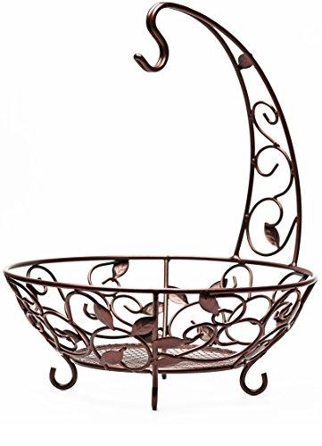 Circleware MATTE BRONZE Metal Fruit Bowl / Banana Hanger With Leaf Design 12.25