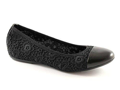 FRAU 70K1 nero scarpe donna ballerine ricamo punta pelle elasticizzata