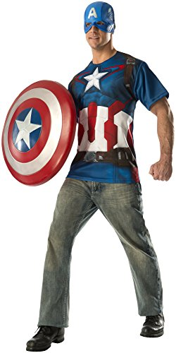 Men's Official Avengers 2 Age Of Ultron Adult Captain America T-Shirt and Mask - L, XL