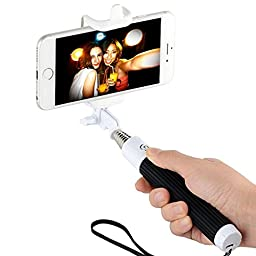 KobraTech Bluetooth Selfie Stick - Solo Stick Premium - Features Built-In Remote Shutter Button - Compatible With Any iPhone or Android Smartphone (Black/White)