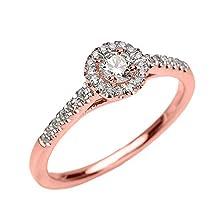 buy 10K Rose Gold Diamond Engagement Proposal Dainty Ring (Size 5.75)
