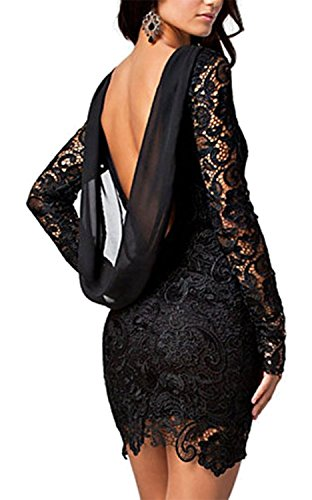 EGELEXY Women Sexy Long Sleeve Backless Lace Drape Mini Dress
