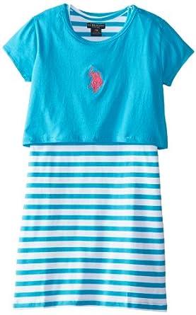 US Polo Association Big Girls' Solid and Stripe Twofer Dress, Surf Blue, 7/8