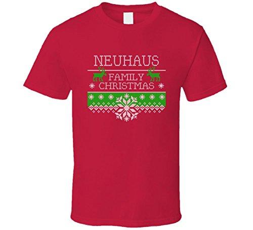 neuhaus-ugly-christmas-sweater-family-name-gift-t-shirt-s-red