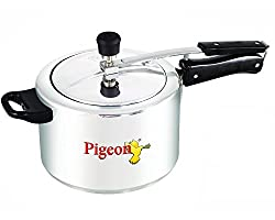 Pigeon Favourite Alluminum Pressure Cooker with Inner Lid, 5 Litres, Silver
