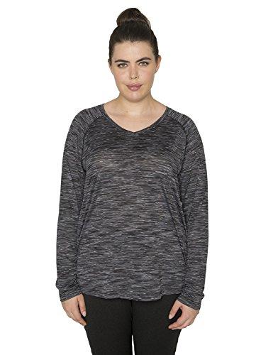 RBX Active Women's Plus Size Space Dye Pattern Raglan Sleeve Tee Shirt Black 3X