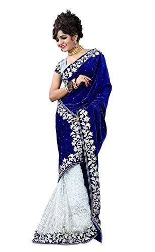 Clickedia-Womens-Velvet-Saree-601-Blue-White-Velvet-sariBlue-and-White