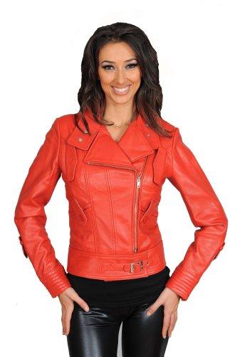 Zip Up Biker-Lederjacke für Frauen Italian Design: Ausgestattet Garment Sheila Rot