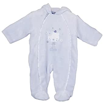Zip Zap Velboa All-In-One Sleepsuit lined and Wadded (Blue Sherbet 0 to 3 months)