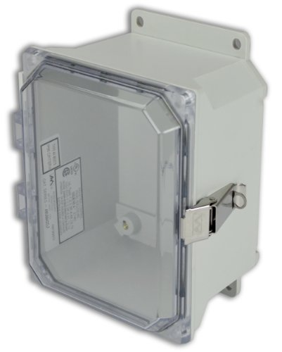 Allied Moulded Amu864Cclf Ultraline Series Fiberglass Jic Size Junction Box, Snap Latch With Mounting Flanges And Hinged Clear Polycarbonate Cover