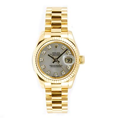 Rolex Ladys President New Style Heavy Band 18k Yellow Gold Model 179178 Fluted Bezel Mother Of Pearl Diamond Dial
