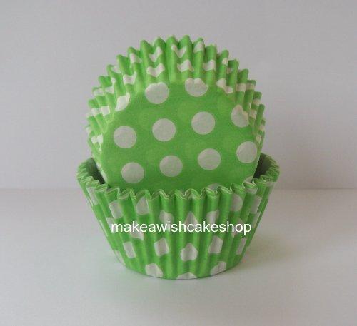 Pack de 48 verde de lunares de envoltorios para cupcakes - 50 mm Base