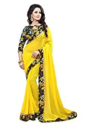 Fashion205 Women Faux Georgette Saree (OCO-AR8-1056_Yellow_Yellow_Free Size)