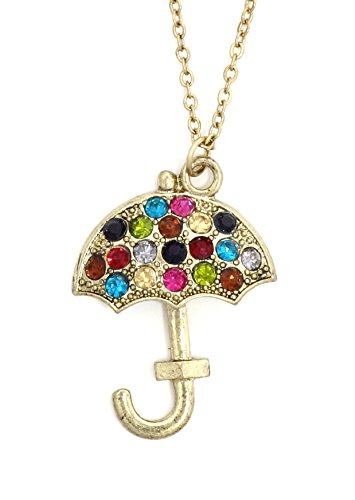 Crystal Umbrella Necklace Antique Gold Tone NU64 Vintage Parasol Pendant Fashion Jewelry