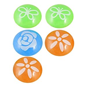 Amico 5 Pcs Flower Butterfly Print Tri Color Fridge White Board Magnet Decor 34mm