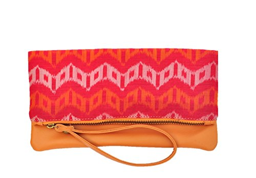 AT IKAT Indian Da donna Rosa and Tan Fold Clutch borsetta cum IPAD Manica Sera Partito Borsa