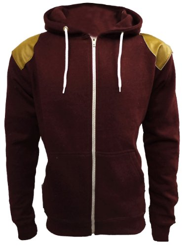 Mens Suede Patch Hoody Gents Zip Fleece Hoodie Sweatshirt Sizes UK L Wine