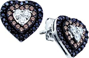 0.50ctw Black Chocolate Champagne Cognac Brown & White Diamond Stud Heart Shape Halo Earrings