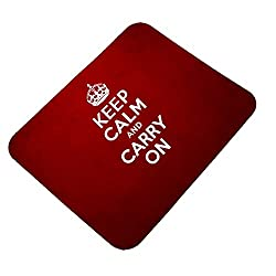 Clapcart Keep Calm and Carry On Design Printed Rubber Base Mat finish Mouse Pad For PC / Laptop - Multicolor