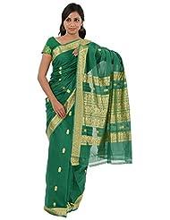 HANTEX Women's Cotton Saree Green (HSRO-14, Green)