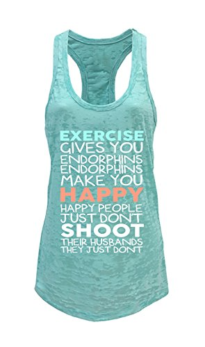 Tough Cookie's Women's Exercise Give You Endorphins Burnout Tank Top (Medium, Mint)