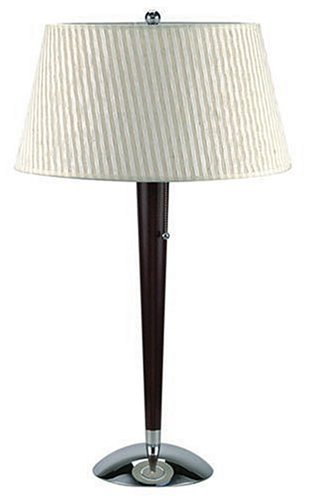 Lite Source LS 2010C CHERRY Stratford Table Lamp Chrome And Cherry with Woven Paper Shade