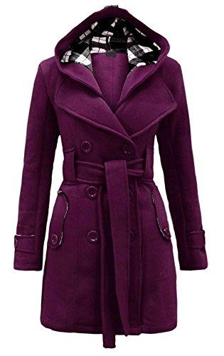 Aro Lora Women's Military Belted Fleece Button Coat Check Hood Jacket US 2 Purple (Hood Fleece Jacket compare prices)