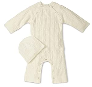 Tadpoles Cable Knit Romper and Hat Set, 3-6 Month, Natural