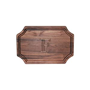 """CHUBBCO W320-F Carving Board with Scalloped Corners, 15-Inch by 24-Inch by 1.25-Inch, Monogrammed """"F"""", Walnut"""