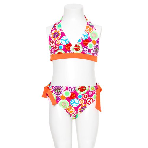 Girls Size 10 Orange Fuchsia Peace Sign Two Piece Swimsuit