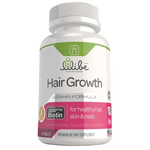 Biotin Hair Growth Vitamins Supplement – For Thicker and Shiny Hair, Stronger Nails and Healthy Skin – 3000mcg Vitamin B7 (Biotin), Folic Acid, Vitamins A, B, C, D, E – Treatment to Prevent Hair Loss – 60 High Potency Tablets – 100% Satisfaction Guarantee