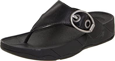 FitFlop Women's Hooper Sandal,Black,5 M US