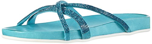 Inuovo6118 - Ciabatta Flip Flop Donna , Turchese (Türkis (TURQUOISE LEA-TURQUOISE STRASS)), 37