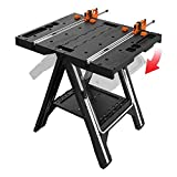 WORX Pegasus Multi-Function Work Table and Sawhorse with Quick Clamps and Holding Pegs - WX051 with Power Share Drill/Driver with One Battery