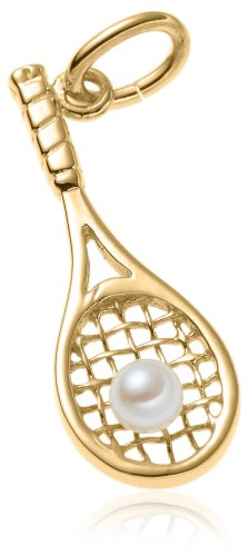 14k Yellow Gold and Pearl Tennis Racquet Charm