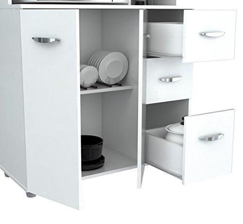 inval america 4 door storage cabinet with microwave cart laricina white home garden kitchen. Black Bedroom Furniture Sets. Home Design Ideas