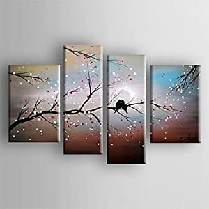Oil Painting Abstract Landscape Bird in the Tree Set of 4 Hand Painted