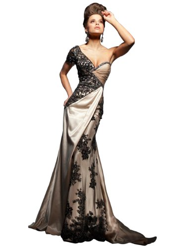 Embroidery One Shoulder Short Sleeve Plus Size Maxi Evening Dress JH-E7784 L (US 6-8)