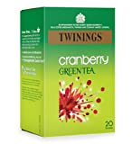Twinings Green Tea with Cranberry 20 Teabags (Pack of 8,Total 160 Teabags)