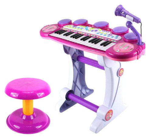 Princess Girl Voice Synthesizer Children'S Musical Instrument Toy Keyboard Play Set, 37 Key Piano W/ Microphone, Stool, Records And Playbacks Music (Purple)