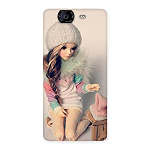 Cute Winter Doll Multicolor Back Case Cover for Canvas Knight A350