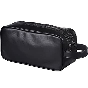 HappyDavid Leather Zipped Travel Toiletry Bag Mens Ladies Supply Toiletry Bag Case