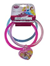 Disney Princess Bracelets - 3pcs Heart Charm Bracelet Set - Pink/Blue
