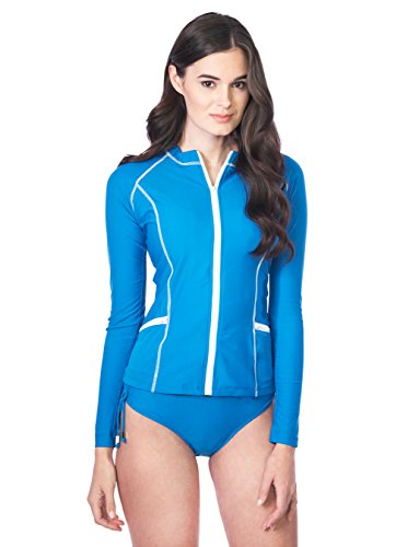 Cabana Life Women's Solid Cobalt Long-Sleeve Full Zip-Up Rashguard