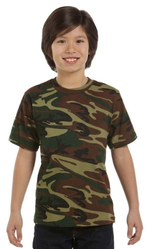 Youth Camouflage Cotton T-Shirt (Green Woodland) (Large)