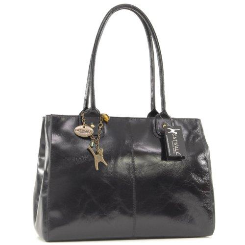 Catwalk Collection Leather Kensington Bag - Vintage Leather - Black